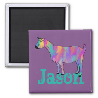 Multicoloured Funny Art Goat Design with Your Name Magnet