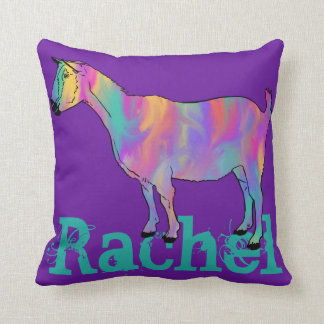 Multicoloured Funny Art Goat Design with Your Name Throw Pillow