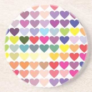 Multicoloured hearts drink coaster