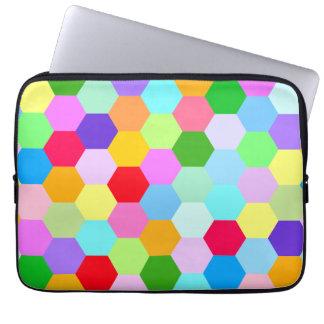 Multicoloured Hexagon Pattern Laptop Computer Sleeves