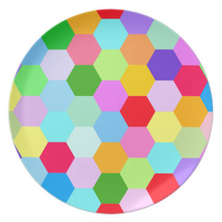 Multicoloured Hexagon Pattern Party Plates