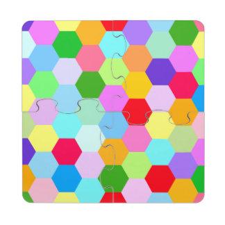Multicoloured Hexagon Pattern Puzzle Coaster