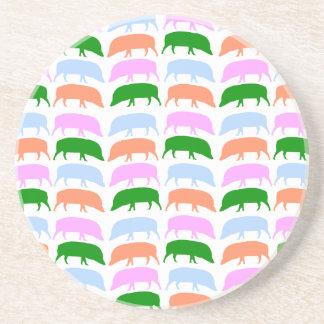 Multicoloured hogs pink blue green orange Coaster