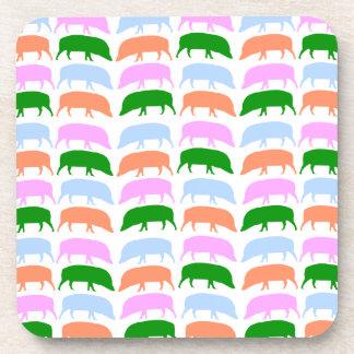 Multicoloured Hogs Pink Blue Green Orange Cork C Beverage Coasters