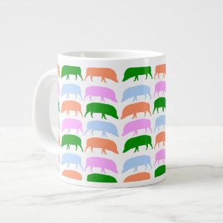 Multicoloured Hogs Pink Blue Green Orange Mug