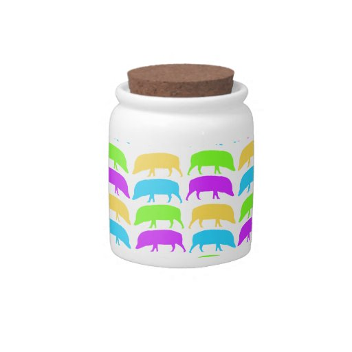 Multicoloured Hogs Yellow Green Purple Blue Candy Candy Dish