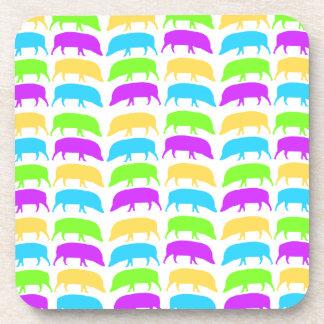 Multicoloured Hogs Yellow Green Purple Blue Cork C Beverage Coaster