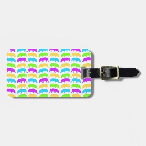 Multicoloured Hogs Yellow Green Purple Blue Custom Luggage Tag