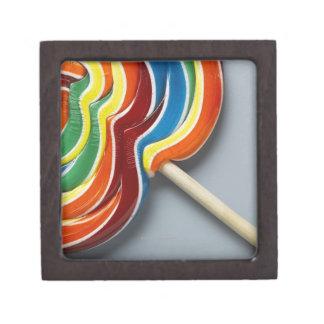 Multicoloured lollipop, close-up keepsake box