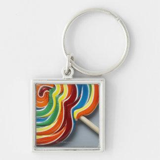Multicoloured lollipop, close-up Silver-Colored square keychain