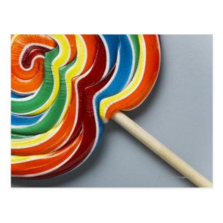 Multicoloured lollipop, close-up postcard