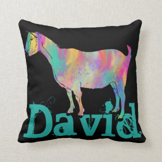 Multicoloured painted Goat Design with Your Name Throw Pillow