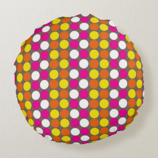 Multicoloured polka dotted round pillow