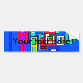 Multicoloured squares and rectangles on blue car bumper sticker