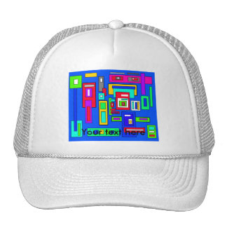 Multicoloured squares and rectangles on blue trucker hats