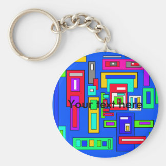 Multicoloured squares and rectangles on blue basic round button keychain