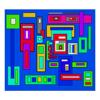 Multicoloured squares and rectangles on blue poster