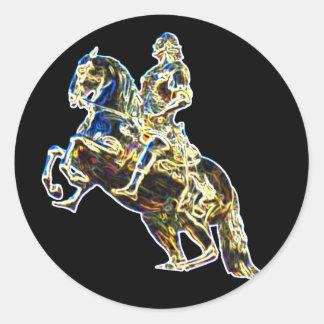 Multicoloured Statue of Horse and Rider Classic Round Sticker