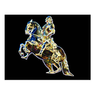 Multicoloured Statue of Horse and Rider Postcard