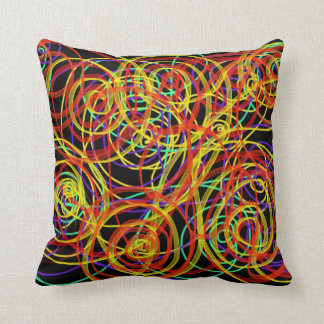 Multicoloured Swirls Indie Abstract Art Design Throw Pillow