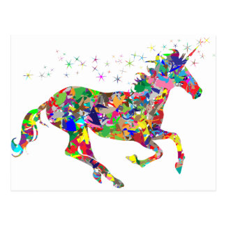 Multicoloured Unicorn Filled With Shapes Postcard