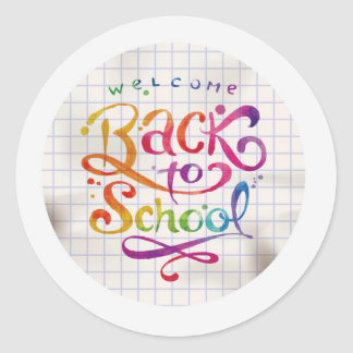 Multicoloured Welcome Back to School Round Classic Round Sticker