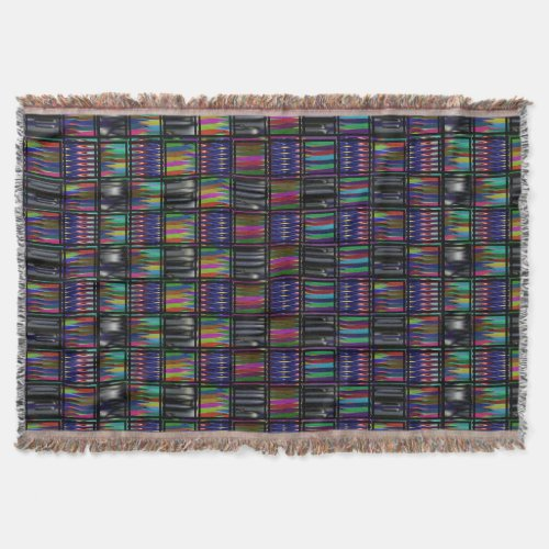 Multicultural Multicolored Patterned Throw Blanket