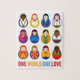 Multicultural Nesting Dolls One Love Jigsaw Puzzle