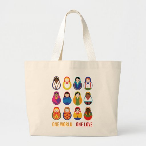 Multicultural Nesting Dolls One Love World Peace Tote Bags