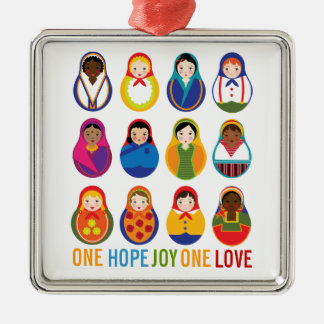 Multicultural Nesting Dolls One Love World Peace Square Metal Christmas Ornament