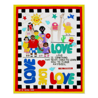 Multicultural poster about love