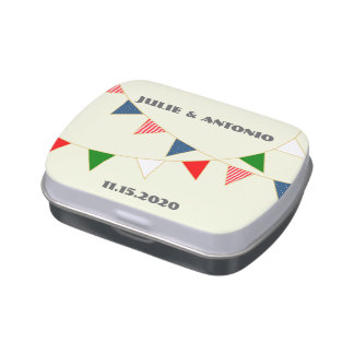 Multicultural Wedding Mexico Bunting Candy Favor Jelly Belly Candy Tins