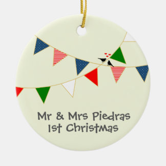 Multicultural Wedding Mexico Bunting Double-Sided Ceramic Round Christmas Ornament