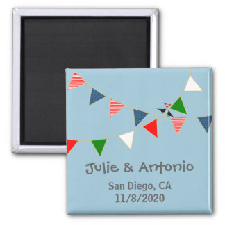 Multicultural Wedding Mexico Bunting Save the Date Magnet