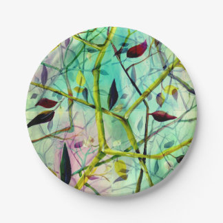 Multidimensional 3-d abstract leaves paper plate