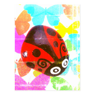 Multidimensional Red Ladybug postcard