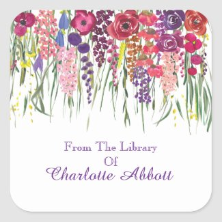 Multifloral Drop Bookplate With Name Customization