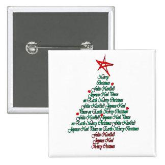 Multilanguage Chistmas Card Feliz Natal Tree 2 Inch Square Button
