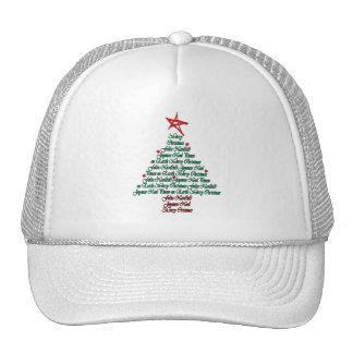Multilanguage Chistmas Card Feliz Natal Tree Trucker Hat