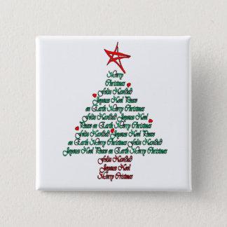 Multilanguage Chistmas Card Feliz Natal Tree Pinback Button