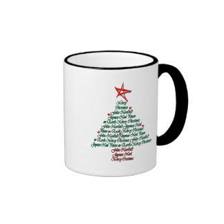 Multilanguage Chistmas Card Feliz Natal Tree Ringer Mug