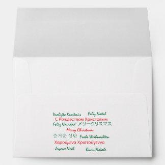 Multilanguage Merry Christmas Envelope