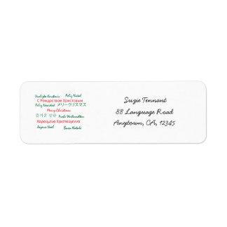 Multilanguage Merry Christmas Label