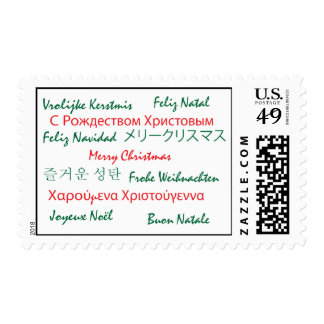 Multilanguage Merry Christmas Postage