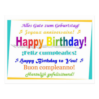 Multilingual Birthday Postcard