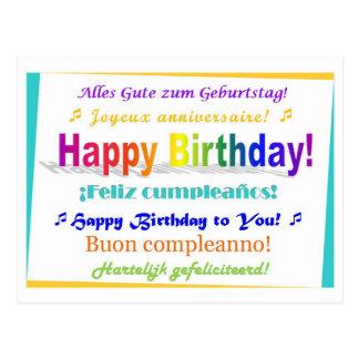 Multilingual Birthday Postcard