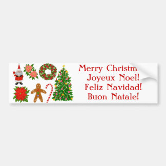 Multilingual Christmas Bumper Sticker Car Bumper Sticker