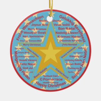 Multilingual Christmas Ceramic Ornament