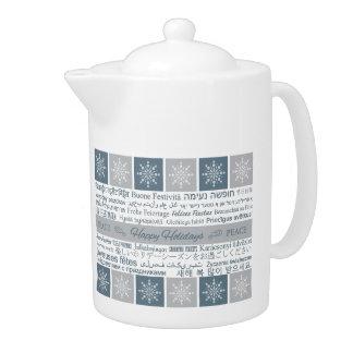 Multilingual Happy Holidays teapot