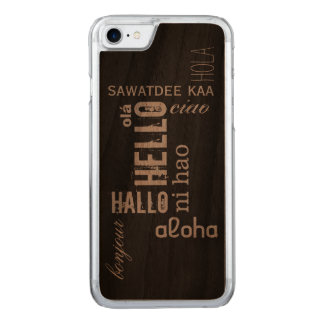 "Multilingual ""Hello"" Wood Carved iPhone 7 Case"